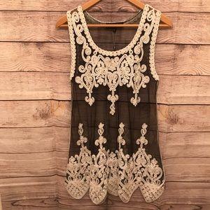 Sheer Black Dress with Off-White Embellishment